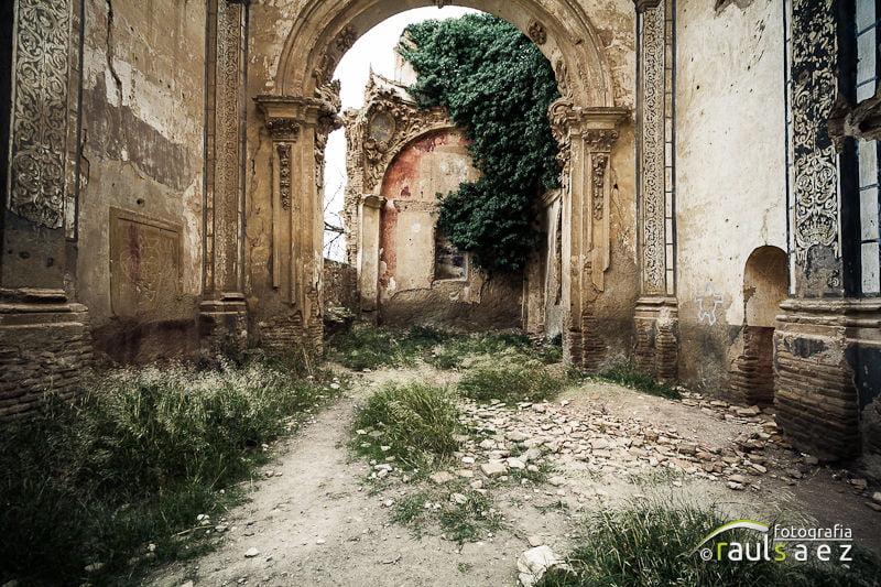 abandono, belchite, iglesia, interior, ruin
